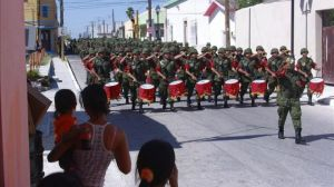 Mexican troops marching into town!!