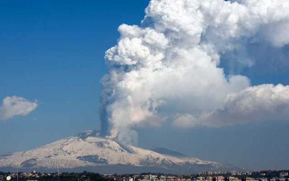Mount Etna erupts yesterday